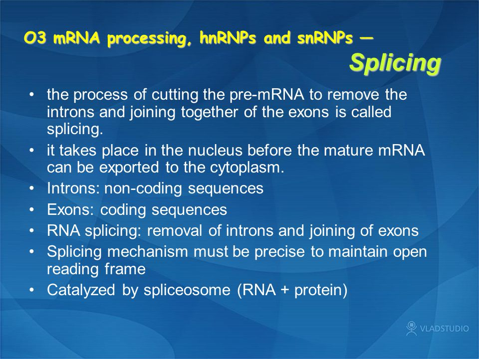 O3 mRNA processing, hnRNPs and snRNPs — Splicing