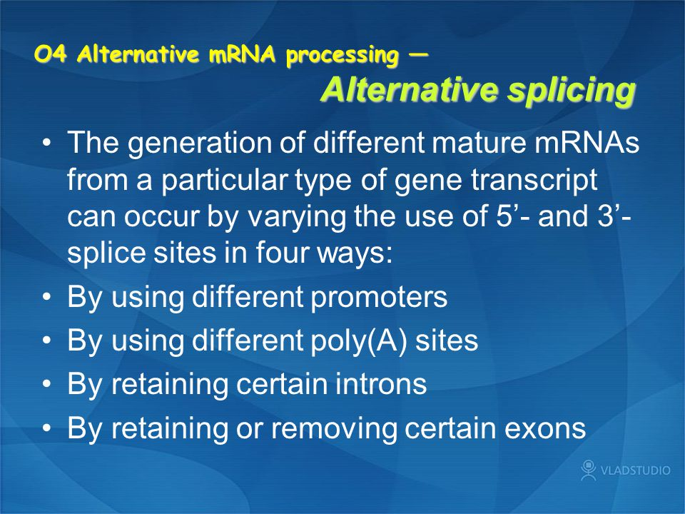 O4 Alternative mRNA processing — Alternative splicing