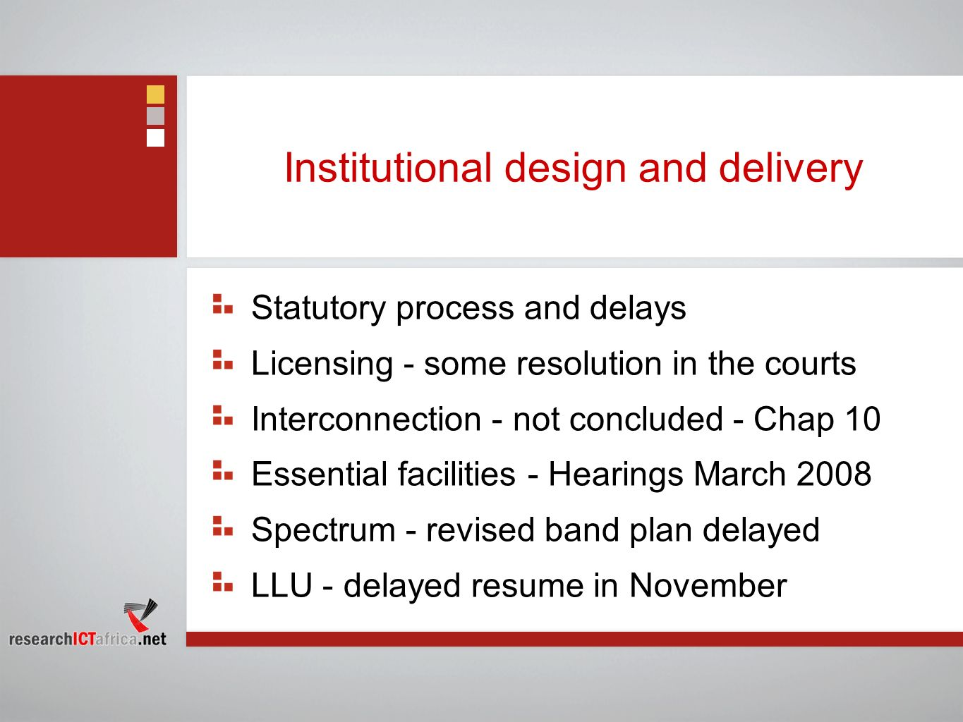 Institutional design and delivery
