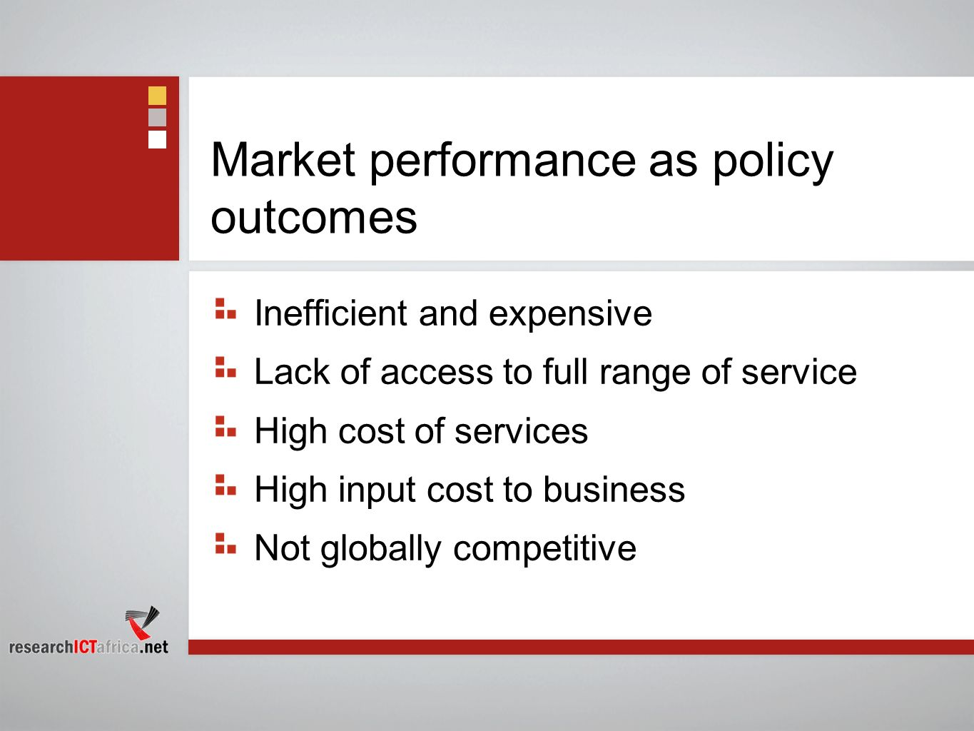 Market performance as policy outcomes