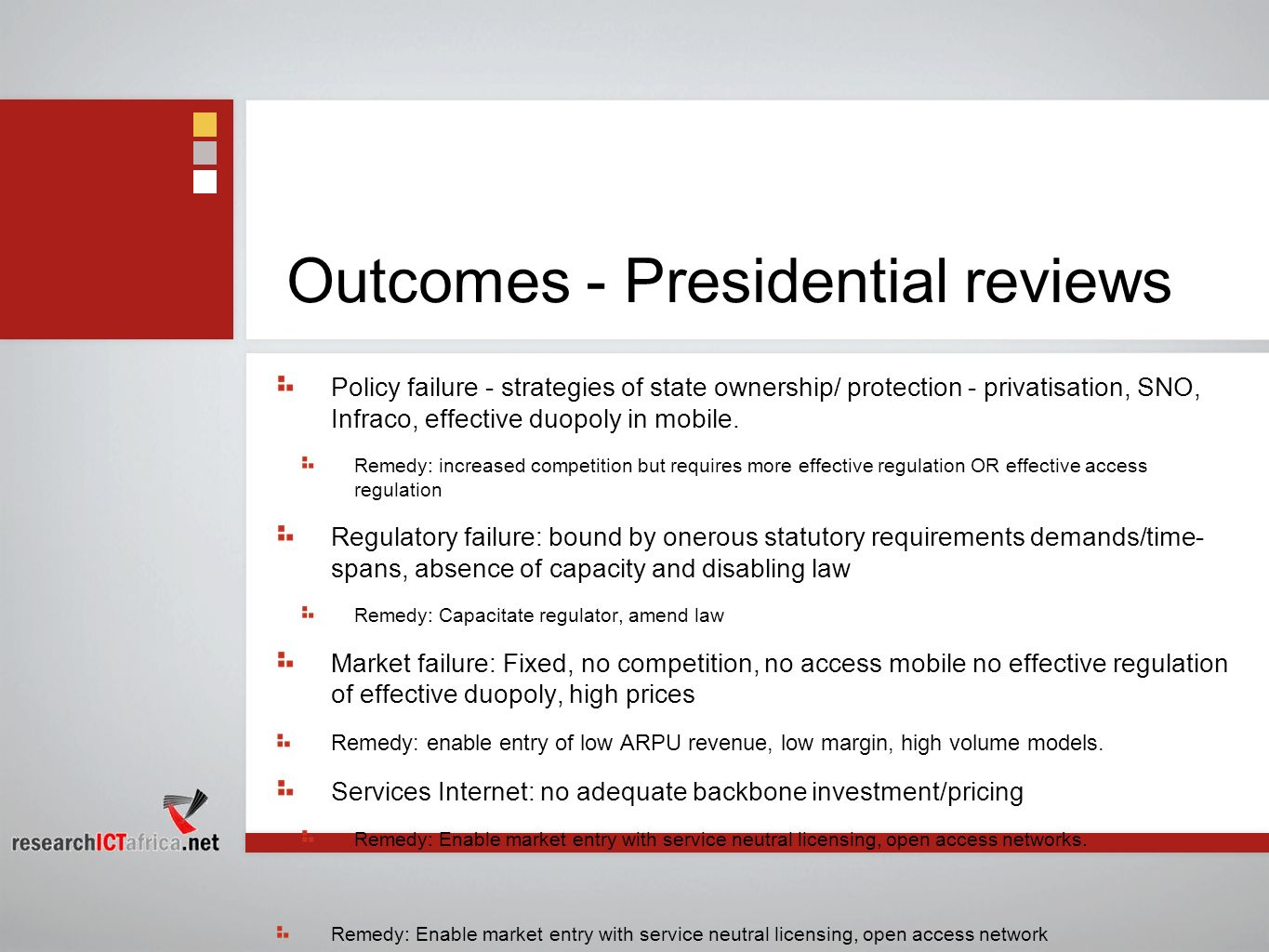Outcomes - Presidential reviews