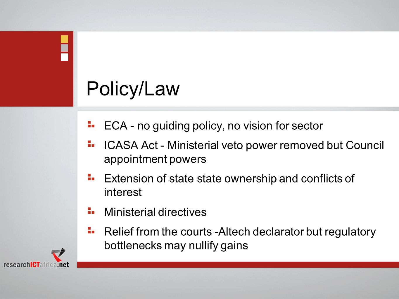 Policy/Law ECA - no guiding policy, no vision for sector