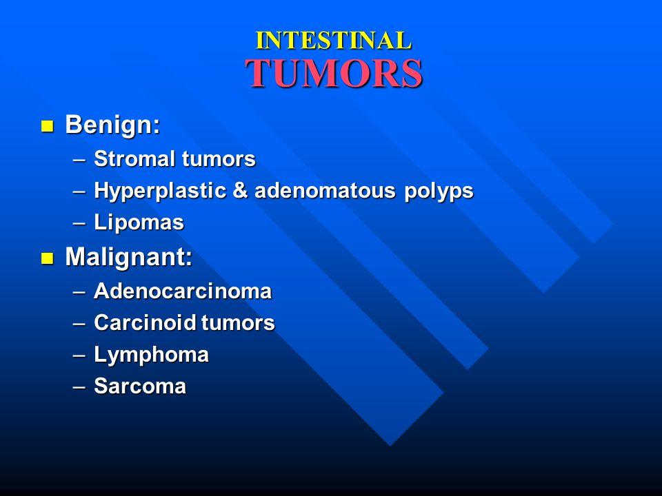 INTESTINAL TUMORS Benign: Malignant: Stromal tumors
