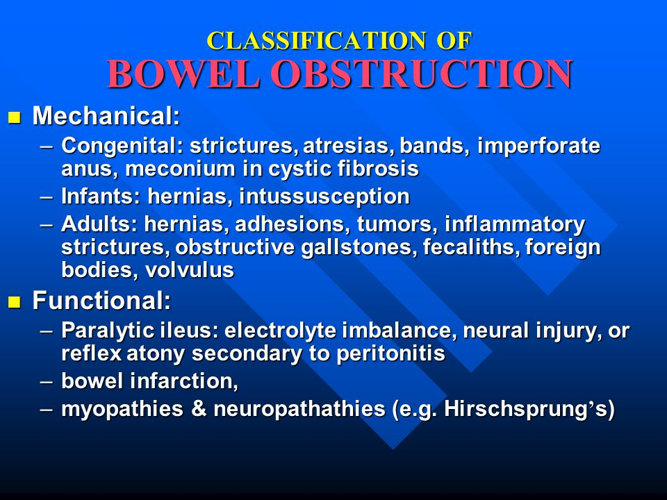 CLASSIFICATION OF BOWEL OBSTRUCTION