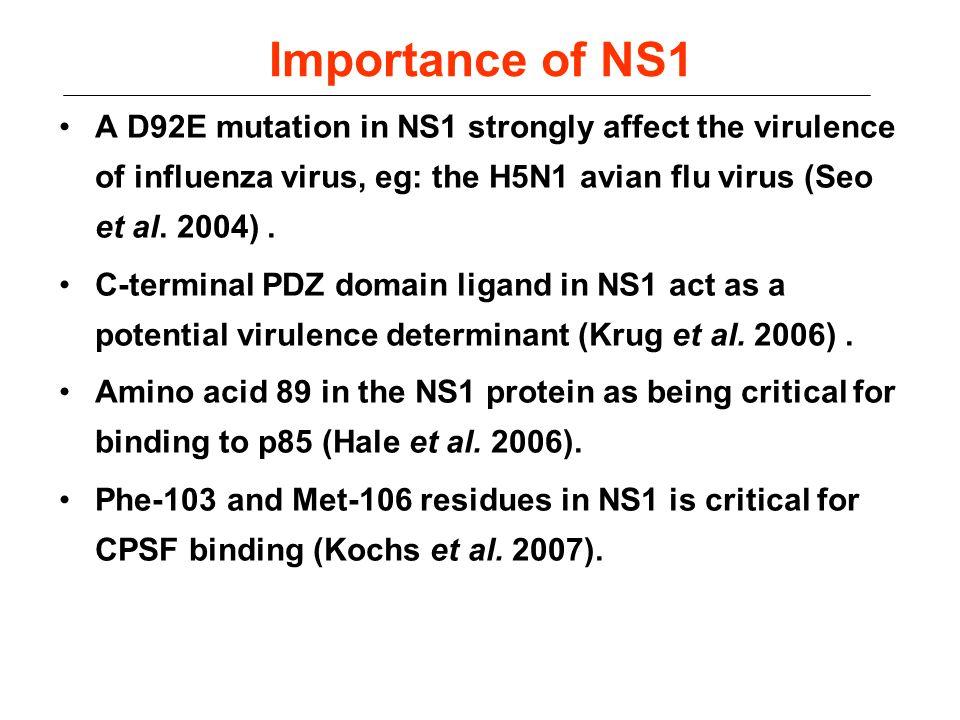 Importance of NS1 A D92E mutation in NS1 strongly affect the virulence of influenza virus, eg: the H5N1 avian flu virus (Seo et al. 2004) .