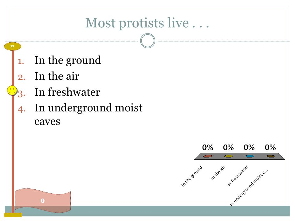 Most protists live . . . In the ground In the air In freshwater