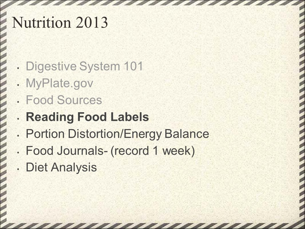 Nutrition 2013 Digestive System 101 MyPlate.gov Food Sources