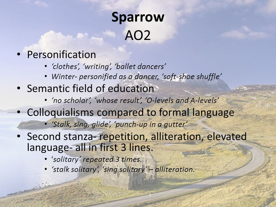 Sparrow AO2 Personification Semantic field of education