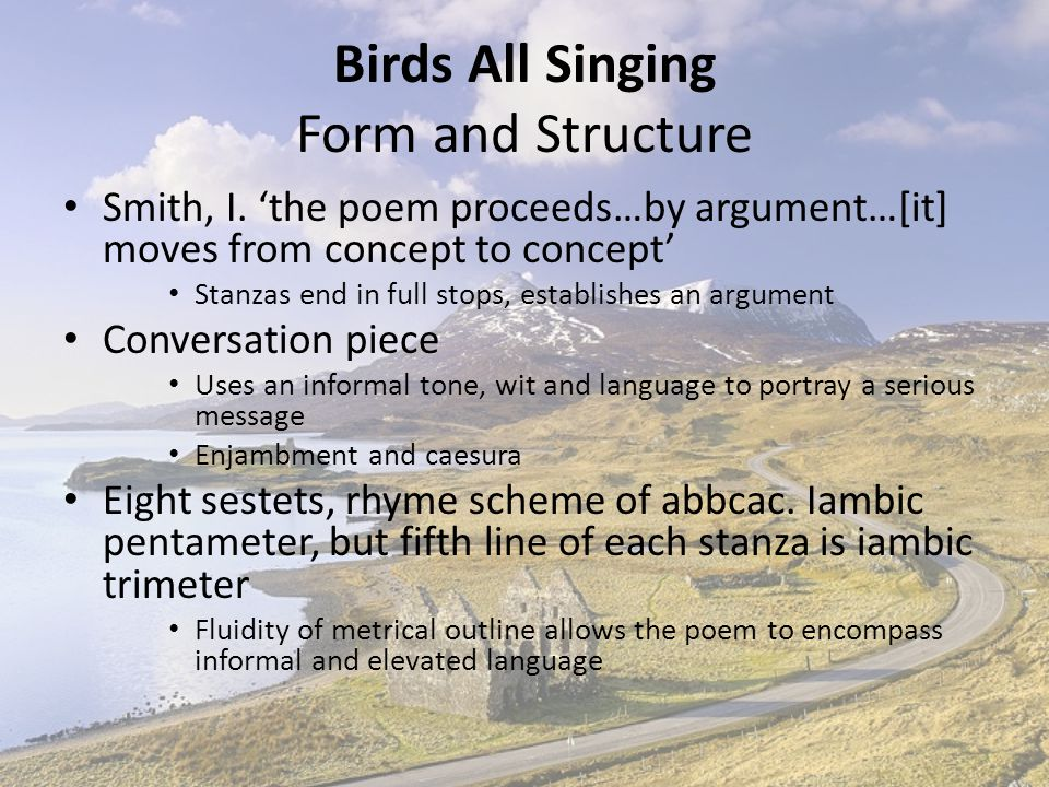 Birds All Singing Form and Structure
