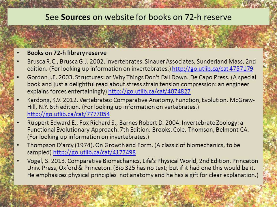See Sources on website for books on 72-h reserve