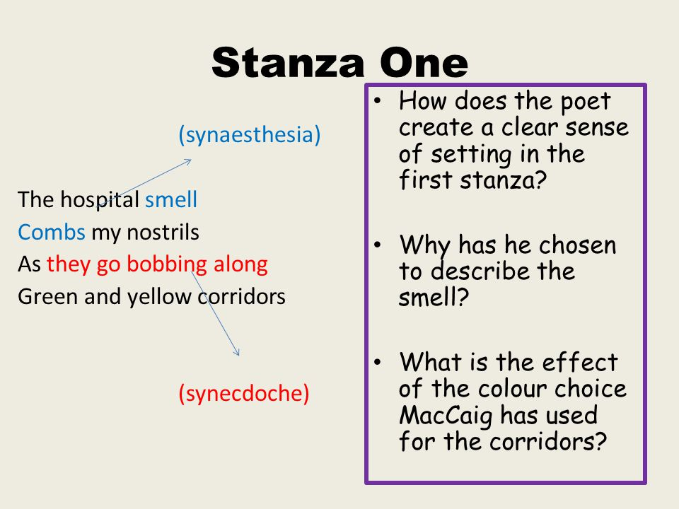 Stanza One How does the poet create a clear sense of setting in the first stanza Why has he chosen to describe the smell