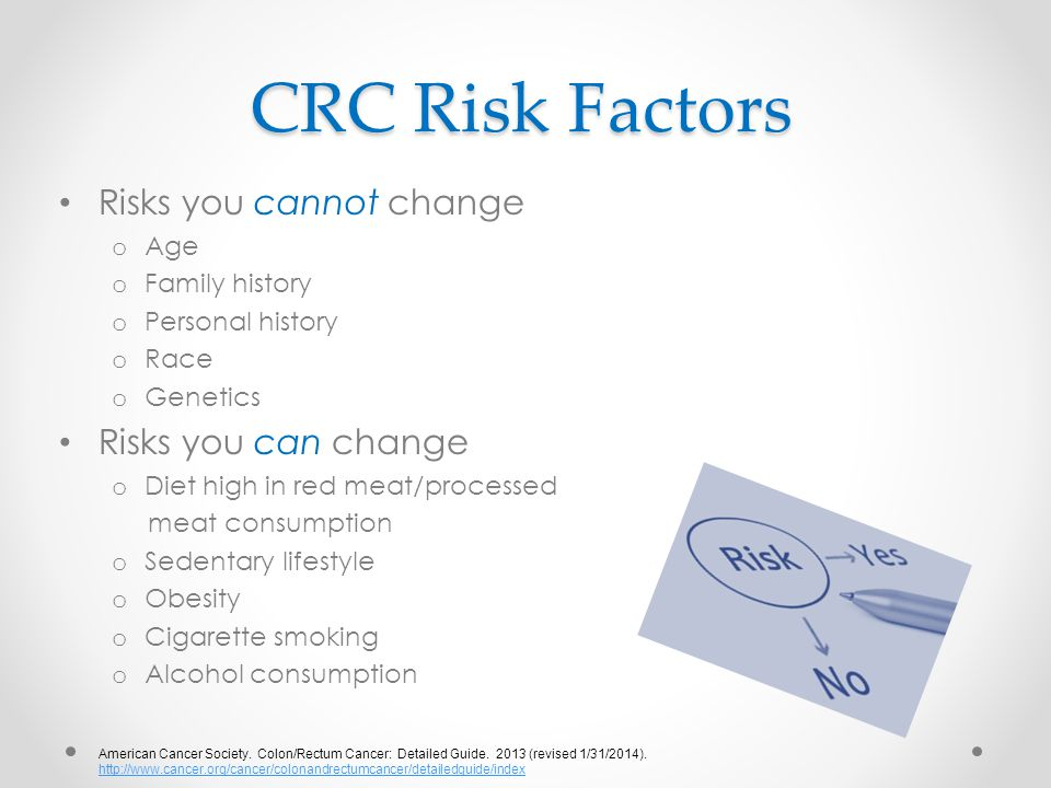 CRC Risk Factors Risks you cannot change Risks you can change Age