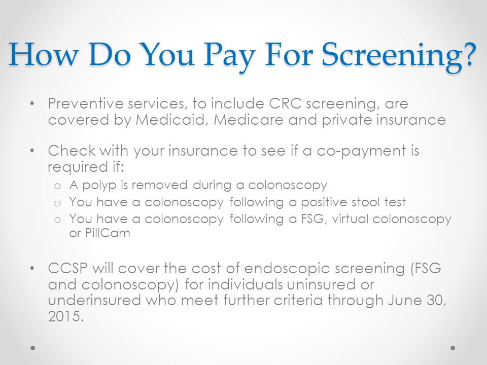How Do You Pay For Screening