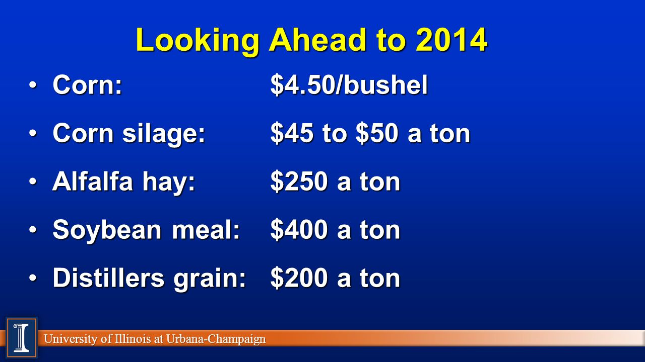 Looking Ahead to 2014 Corn: $4.50/bushel Corn silage: $45 to $50 a ton