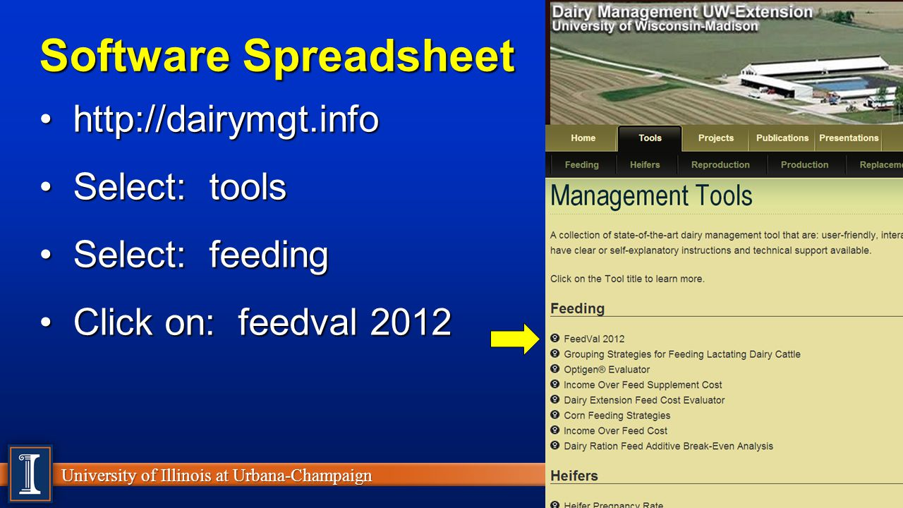Software Spreadsheet http://dairymgt.info Select: tools