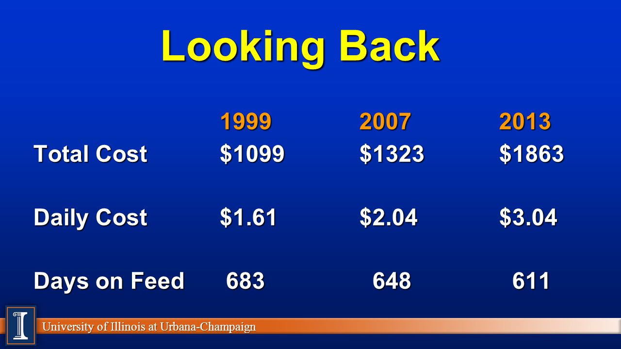 Looking Back 1999 2007 2013 Total Cost $1099 $1323 $1863
