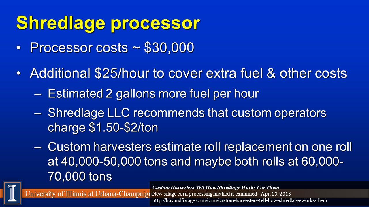 Shredlage processor Processor costs ~ $30,000