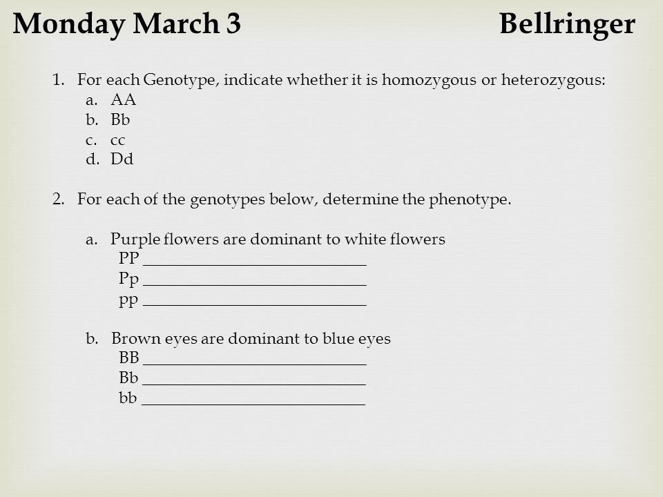 Monday March 3 Bellringer