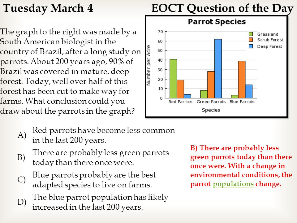 Tuesday March 4 EOCT Question of the Day