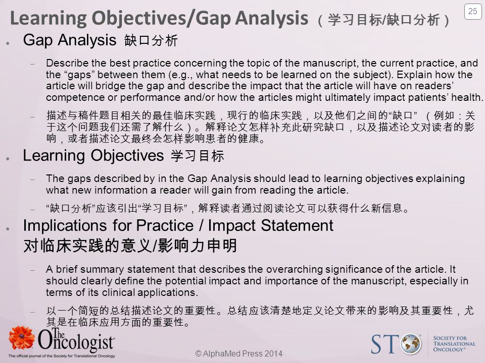 Learning Objectives/Gap Analysis (学习目标/缺口分析)