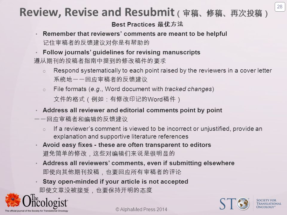 Review, Revise and Resubmit(审稿、修稿、再次投稿)