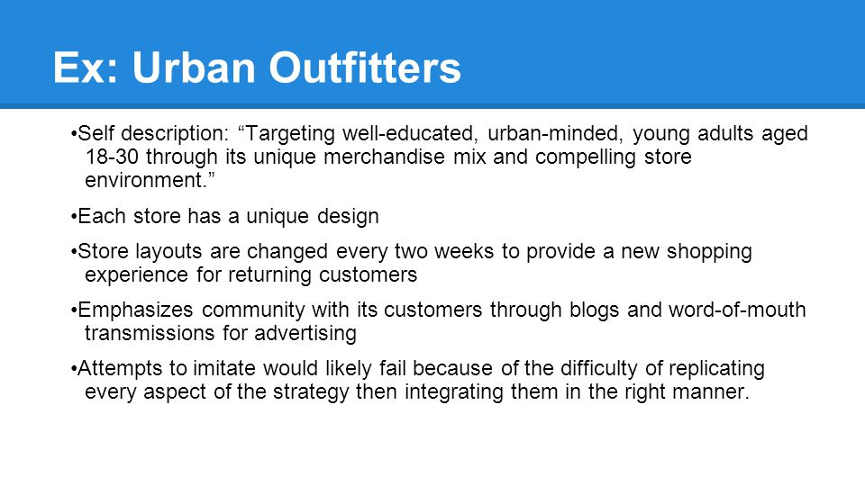 Ex: Urban Outfitters