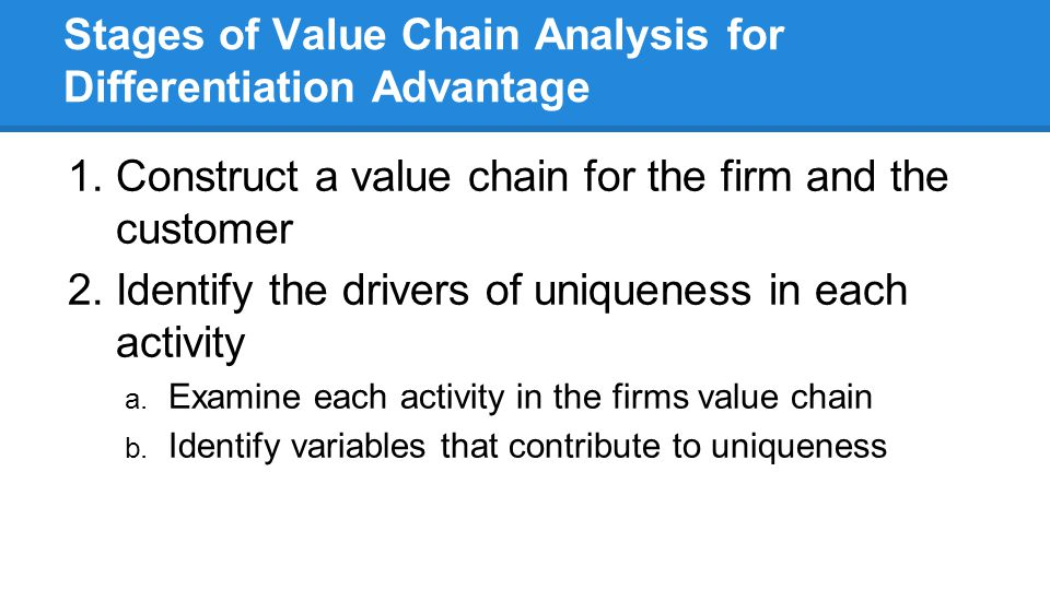 Stages of Value Chain Analysis for Differentiation Advantage