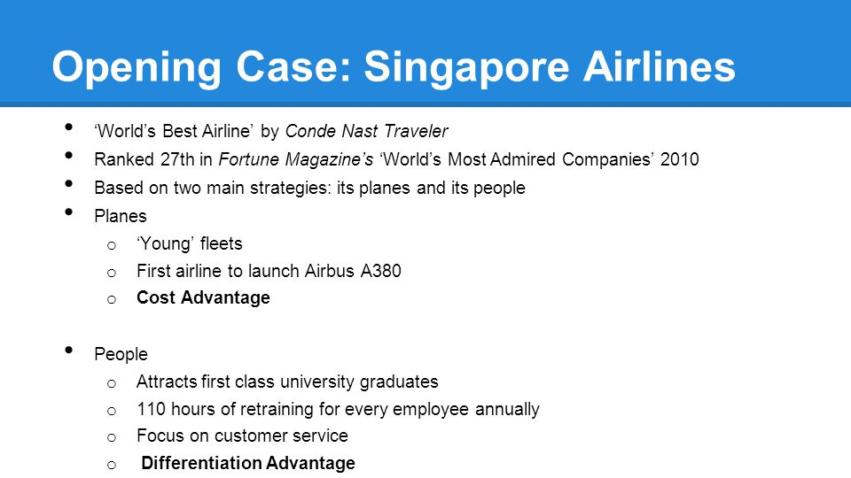 Opening Case: Singapore Airlines