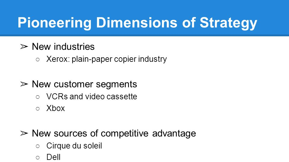 Pioneering Dimensions of Strategy