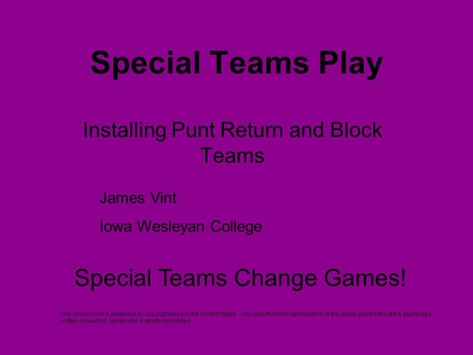 Installing Punt Return and Block Teams