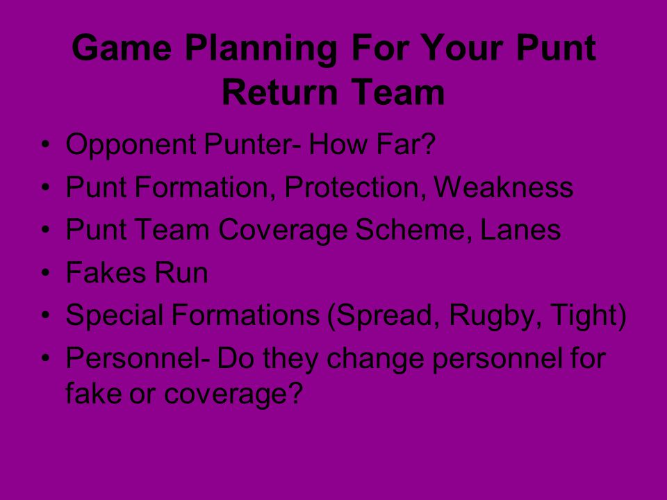 Game Planning For Your Punt Return Team