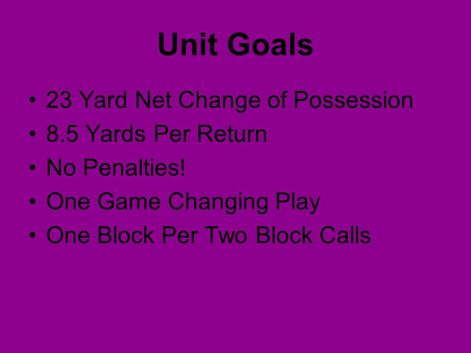 Unit Goals 23 Yard Net Change of Possession 8.5 Yards Per Return