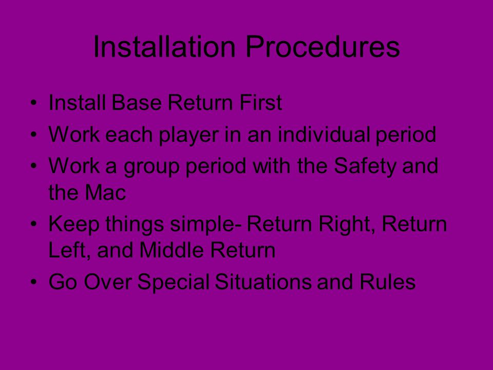 Installation Procedures