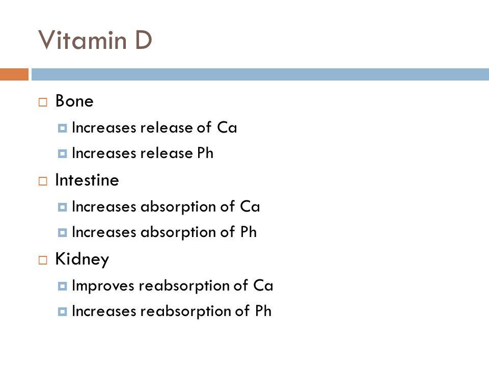 Vitamin D Bone Intestine Kidney Increases release of Ca