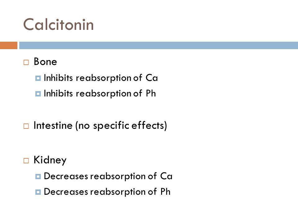 Calcitonin Bone Intestine (no specific effects) Kidney