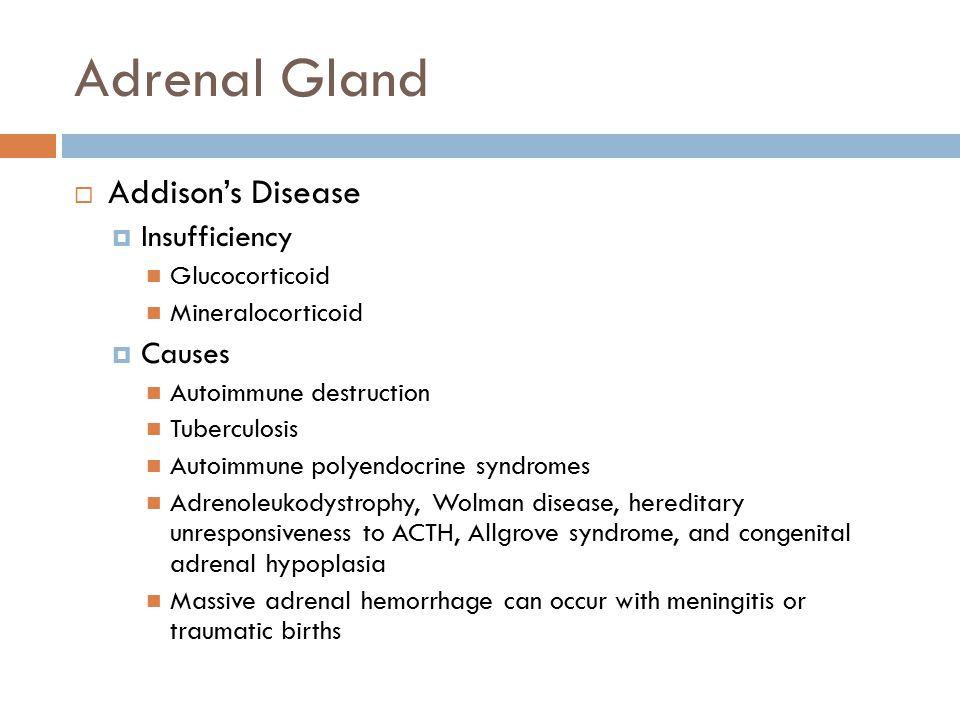 Adrenal Gland Addison's Disease Insufficiency Causes Glucocorticoid