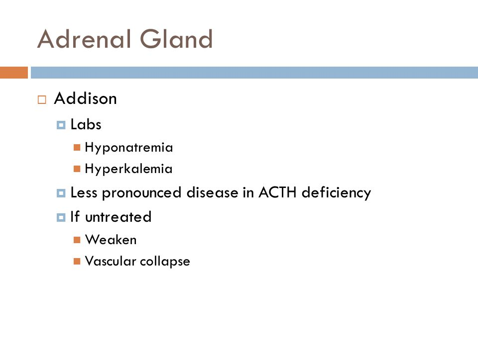 Adrenal Gland Addison Labs Less pronounced disease in ACTH deficiency