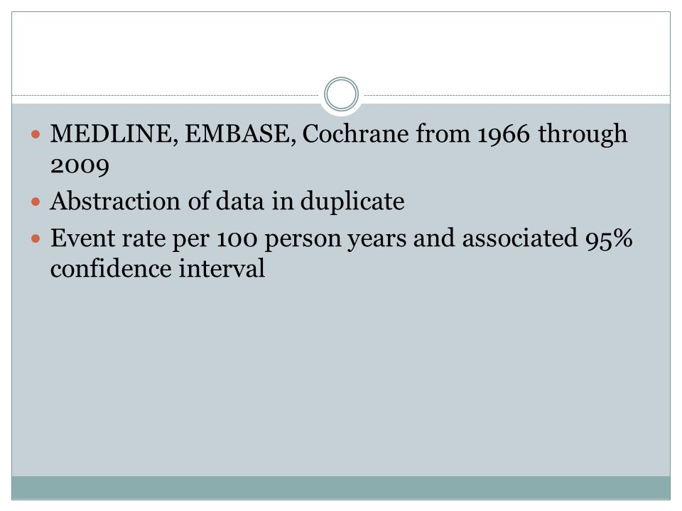 MEDLINE, EMBASE, Cochrane from 1966 through 2009