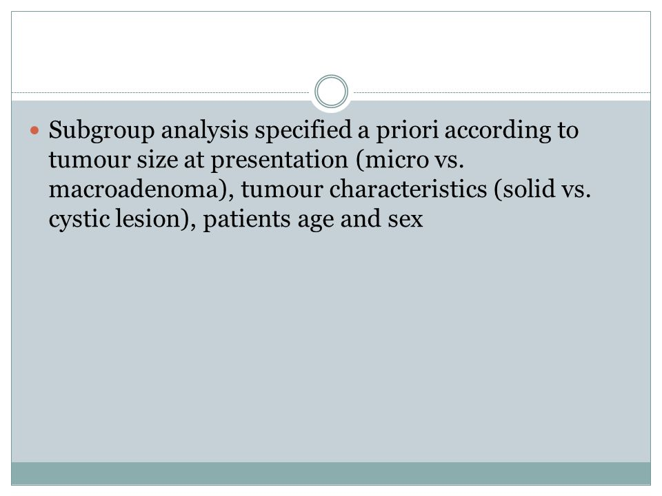 Subgroup analysis specified a priori according to tumour size at presentation (micro vs.