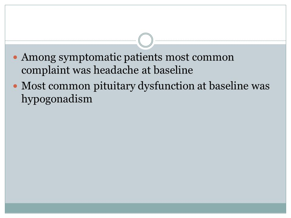Among symptomatic patients most common complaint was headache at baseline