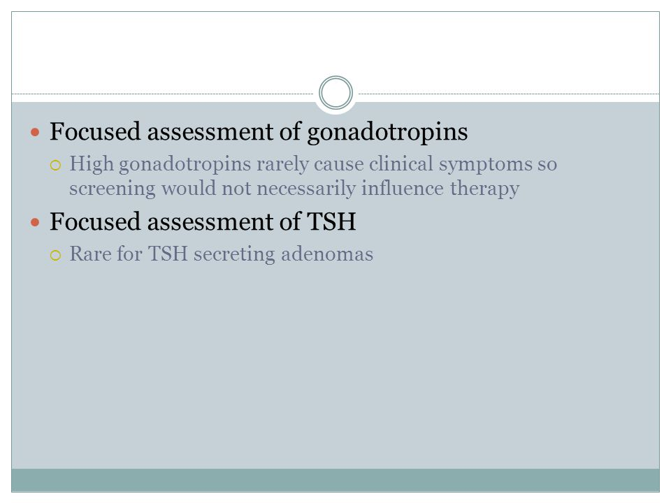 Focused assessment of gonadotropins
