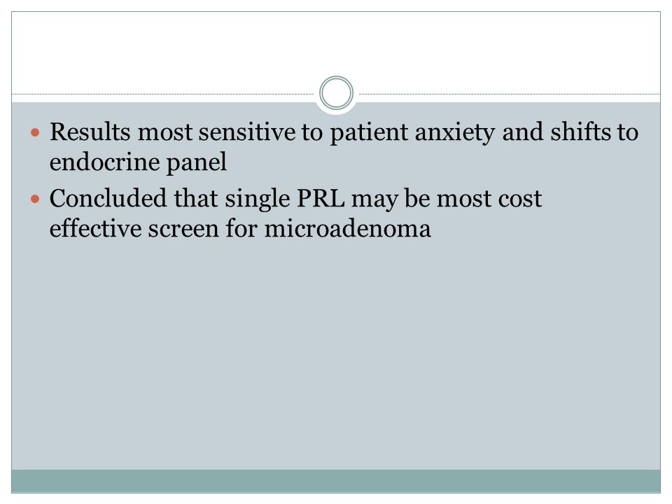 Results most sensitive to patient anxiety and shifts to endocrine panel