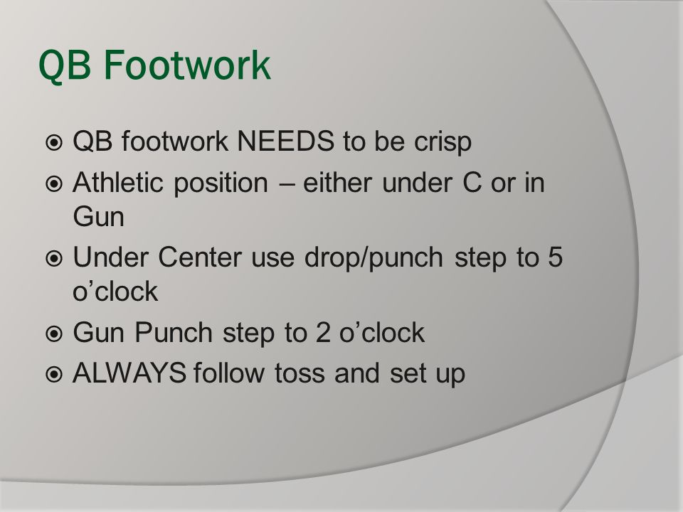 QB Footwork QB footwork NEEDS to be crisp