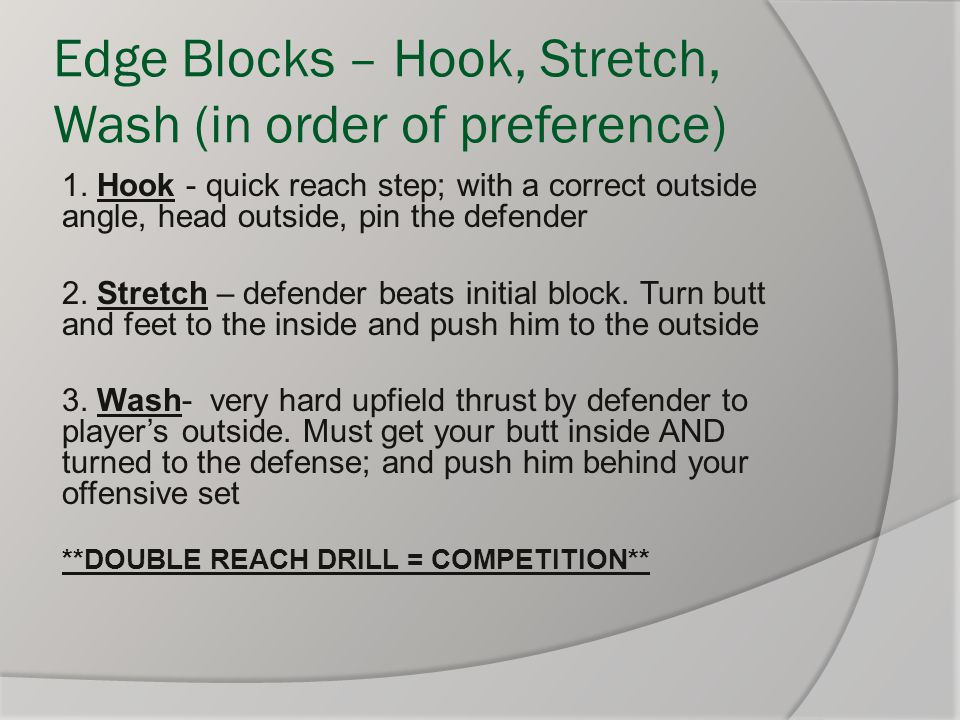 Edge Blocks – Hook, Stretch, Wash (in order of preference)