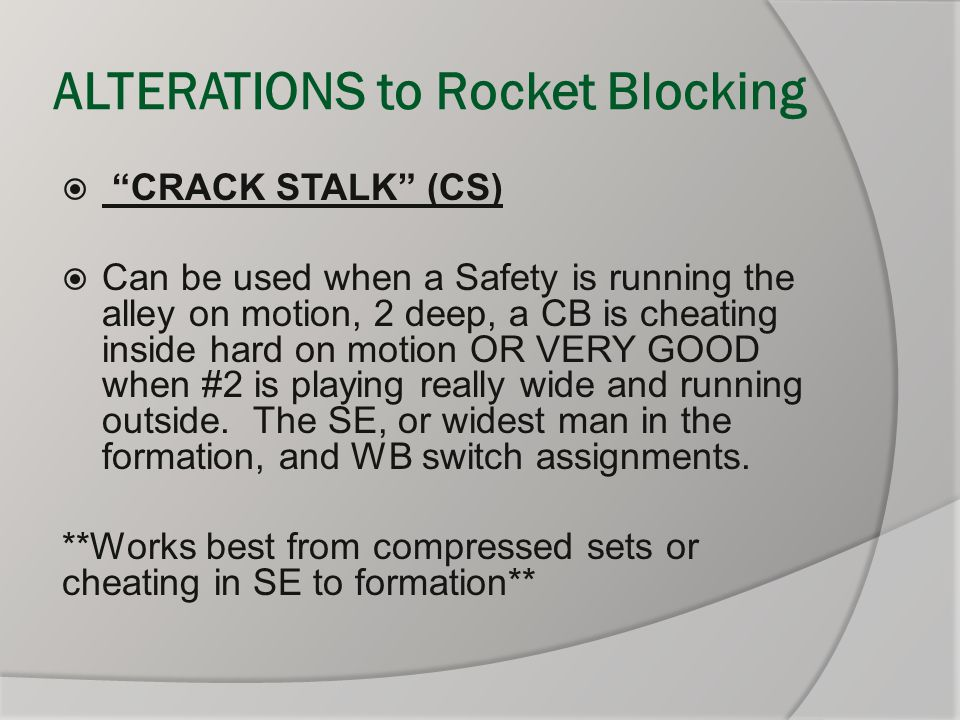 ALTERATIONS to Rocket Blocking