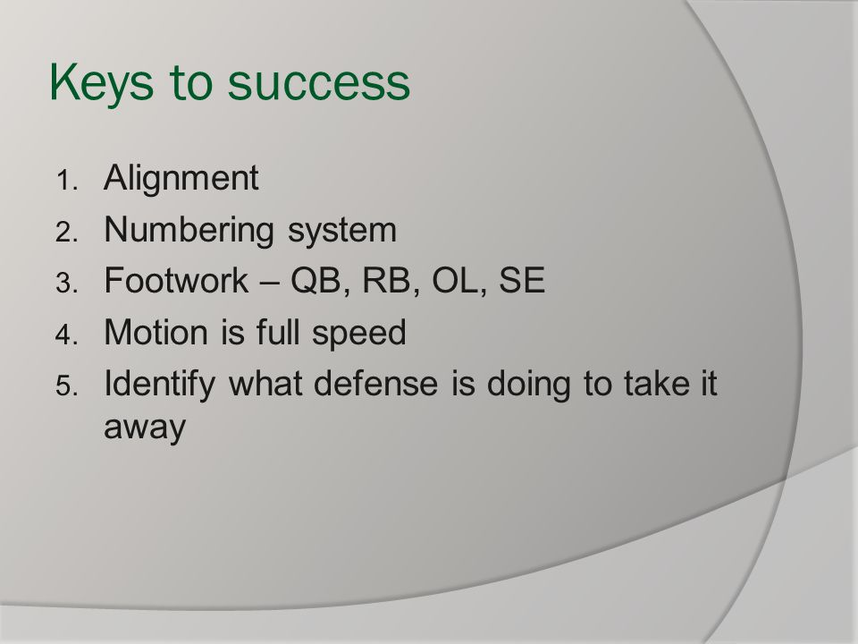 Keys to success Alignment Numbering system Footwork – QB, RB, OL, SE