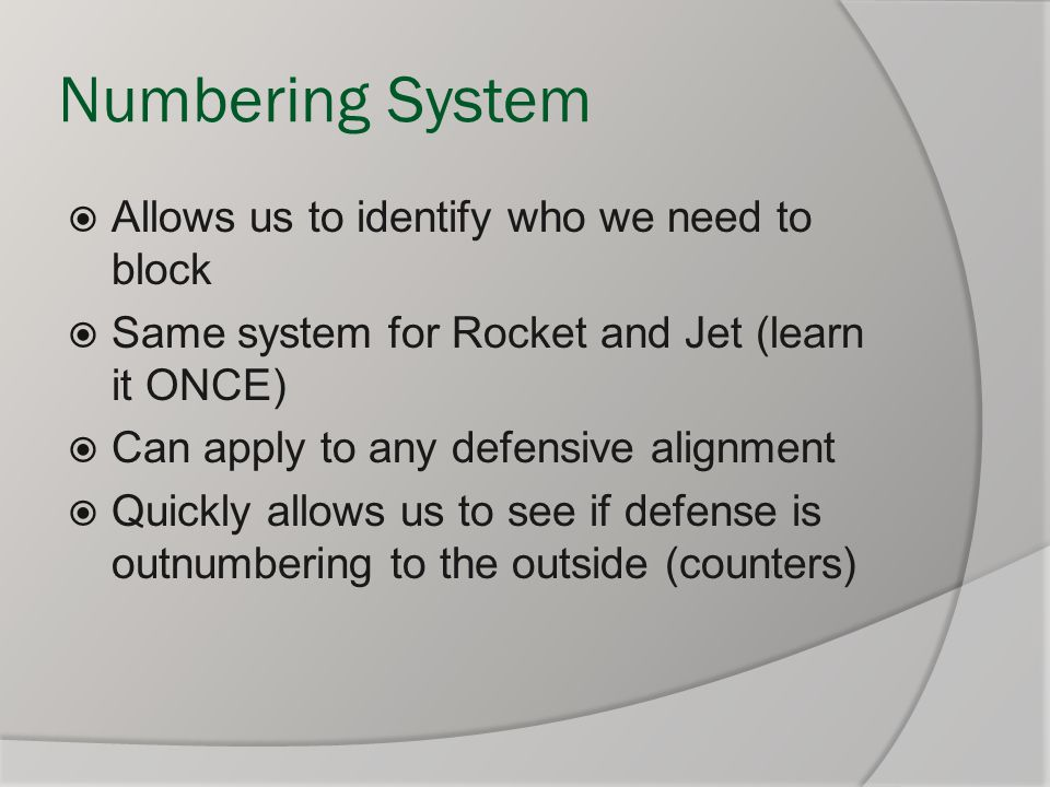 Numbering System Allows us to identify who we need to block