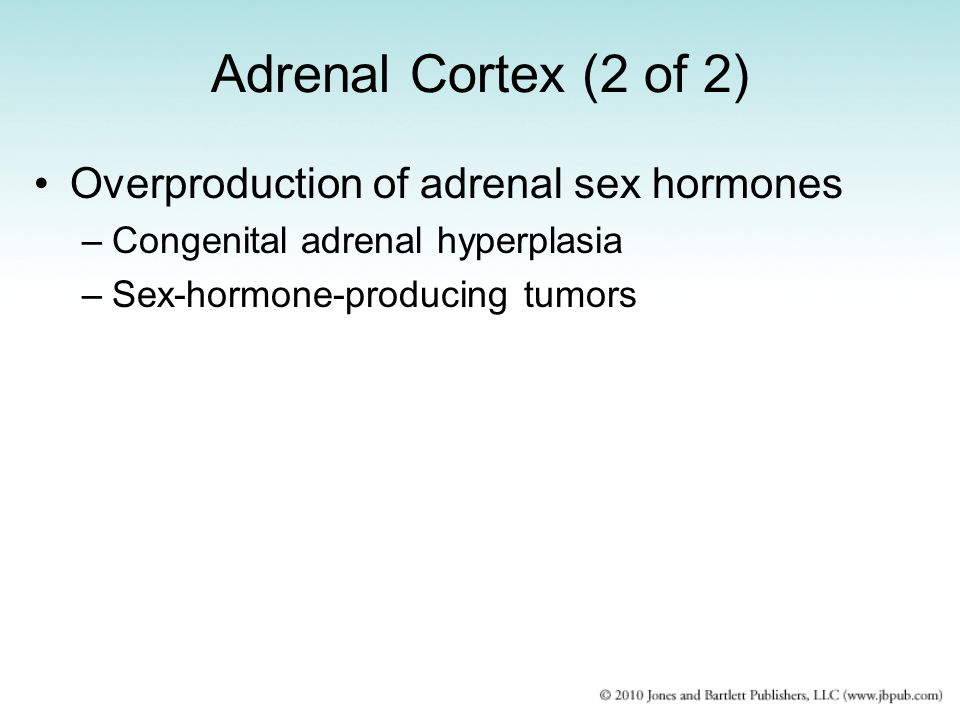 Adrenal Cortex (2 of 2) Overproduction of adrenal sex hormones