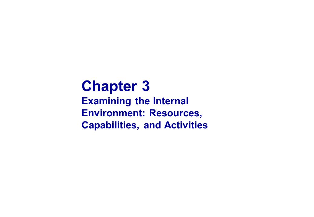 OBJECTIVES 1 2 3 4 5 Explain the internal context of strategy