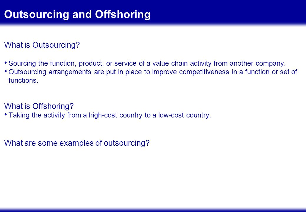 BUSINESS CASE FOR OUTSOURCING: ANALYSIS AND ACCURACY